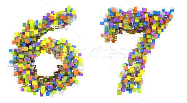 Abstract cubic font 6 and 7 figures Stock photo © Arsgera