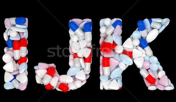 Medical font I J and K pills letters Stock photo © Arsgera