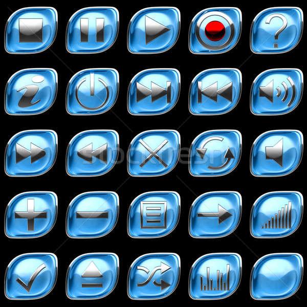 Kék irányítópanel gombok ikonok izolált fekete Stock fotó © Arsgera