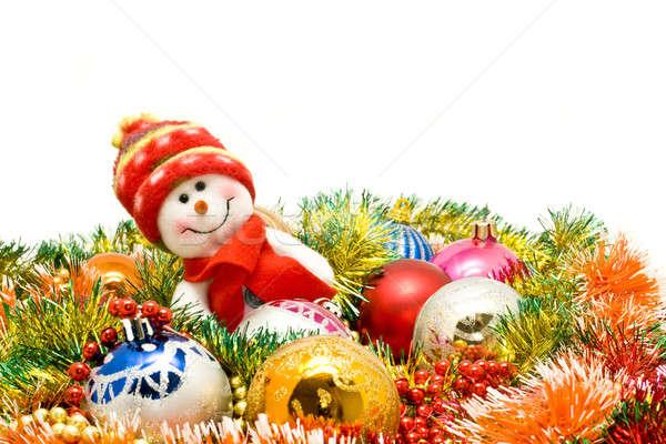Foto stock: Navidad · funny · muñeco · de · nieve · decoración · vidrio · invierno