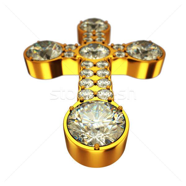 Religion: golden cross with diamonds isolated  Stock photo © Arsgera