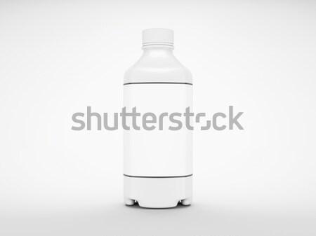 White plastic bottle for fluid or drugs on grey Stock photo © Arsgera