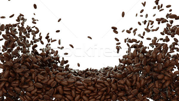 Coffee beans mixed and tossed isolated Stock photo © Arsgera