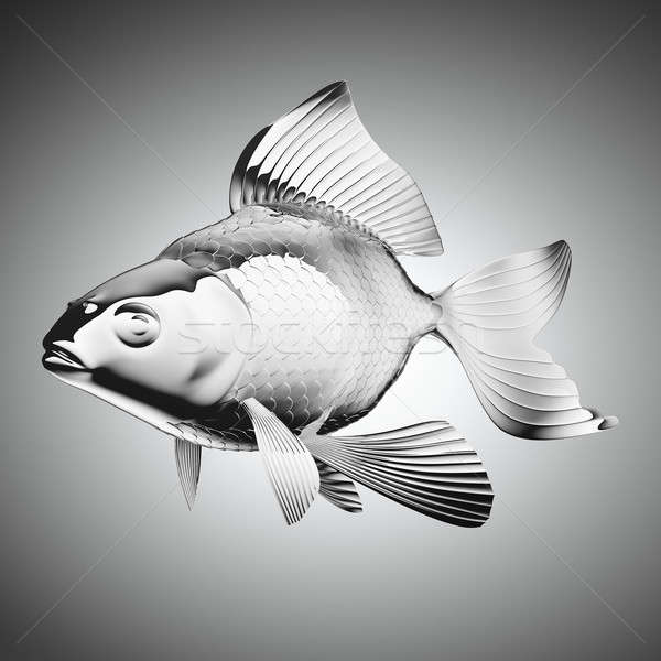 ストックフォト: 金魚 · グレー · 勾配 · 魚 · 自然 · 海