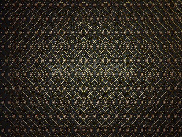 Black leather pattern with golden wire and gemstones Stock photo © Arsgera