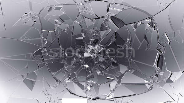 Pieces of cracked glass on black Stock photo © Arsgera