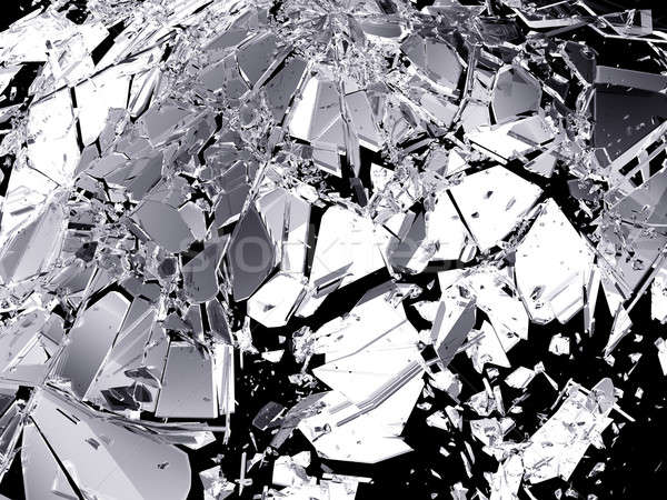 Shattered glass isolated on black background Stock photo © Arsgera