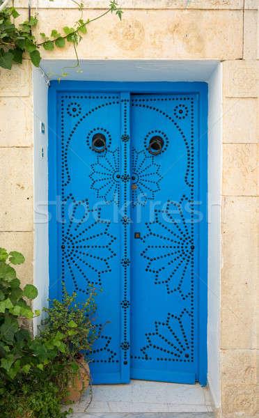 Geleneksel mavi kapı Tunus duvar sokak Stok fotoğraf © Arsgera