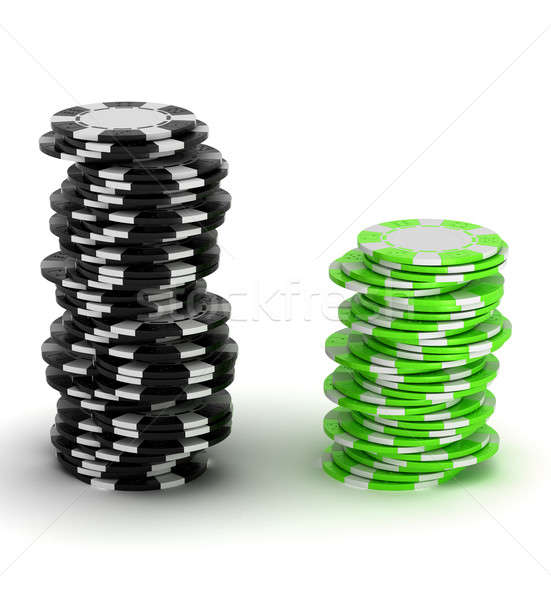 Black and green Casino chip stacks Stock photo © Arsgera