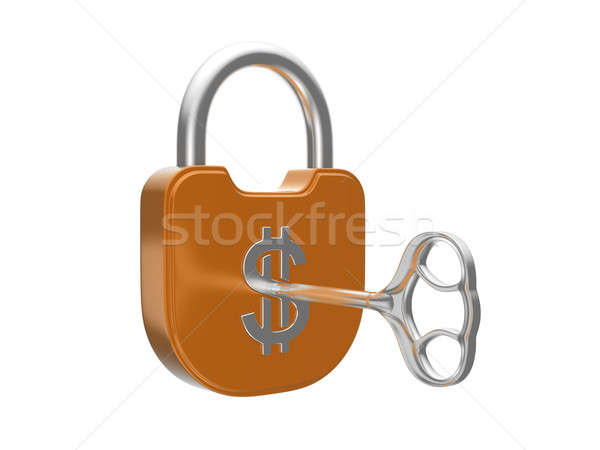 Locking the US dollar currency lock with key Stock photo © Arsgera