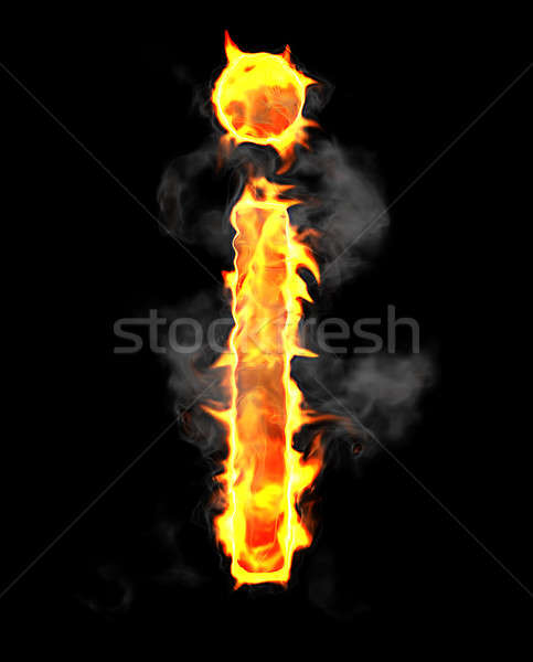 Burning and flame font I letter Stock photo © Arsgera