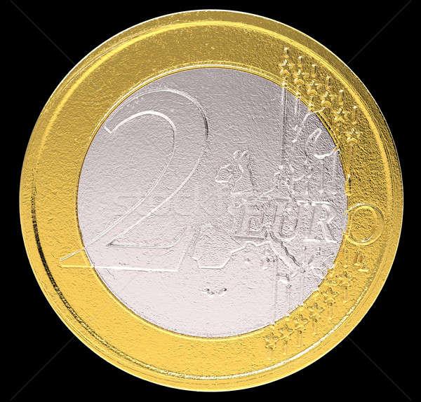 Stock photo: 2 Euro: EU currency coin