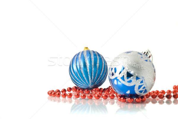 Foto d'archivio: Natale · due · blu · rosso · perline