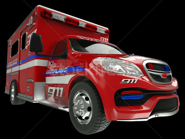 Ambulance: wide angle view of emergency services vehicle on blac Stock photo © Arsgera