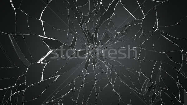 splitted or cracked glass on white Stock photo © Arsgera