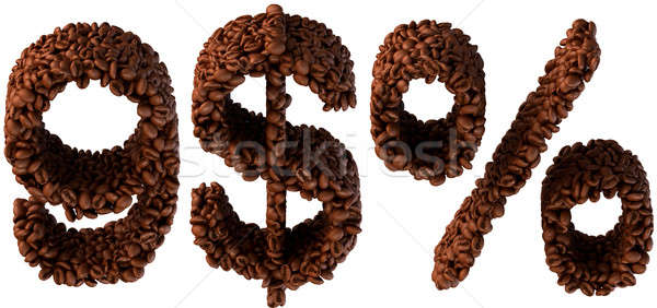 Roasted Coffee font 9, dollar currency and percent Stock photo © Arsgera