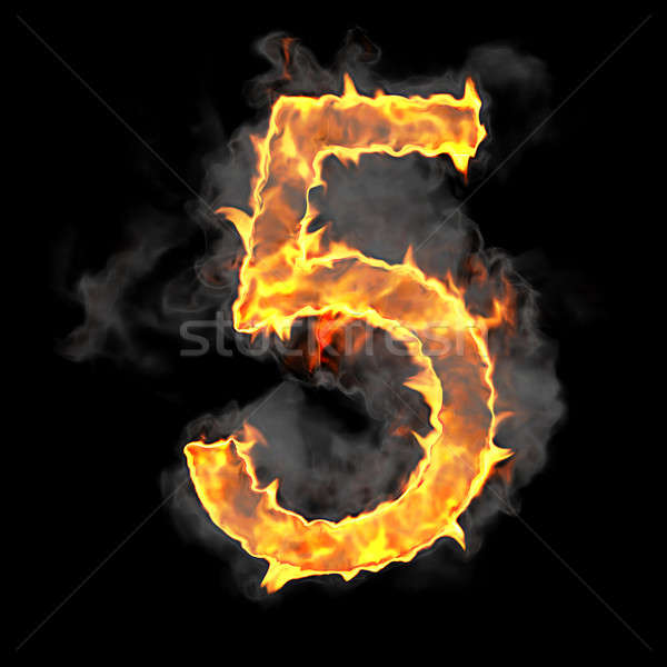 Burning and flame font 5 numeral Stock photo © Arsgera