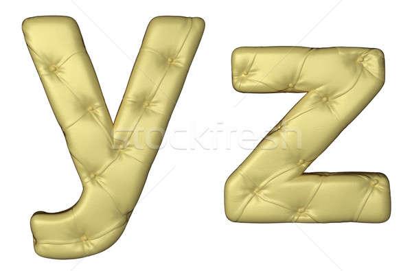 Luxury beige leather font Y Z letters Stock photo © Arsgera