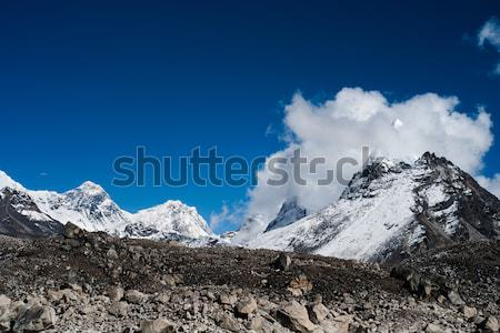 Peaks and clouds near Sacred Lake of Gokyo in Himalayas Stock photo © Arsgera