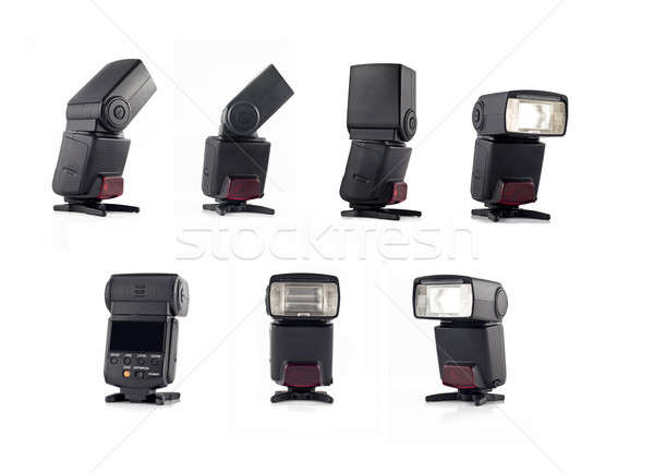 Stock photo: Collage of Professional flash on stand for digital camera views