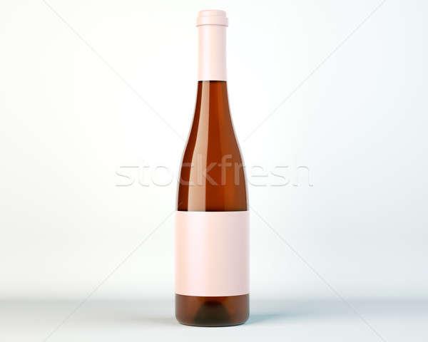 Botella vino blanco brandy etiqueta estudio fiesta Foto stock © Arsgera