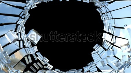 Destruction: pieces of cubic shattered glass  Stock photo © Arsgera