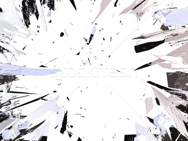 Vidro quebrado isolado branco abstrato projeto vidro Foto stock © Arsgera