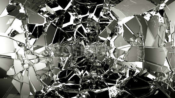 Broken and cracked glass isolated on white Stock photo © Arsgera