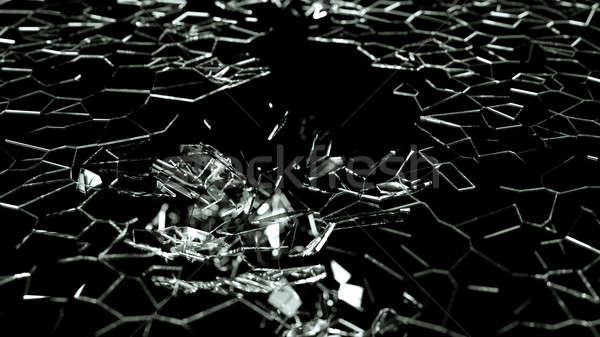 Broken and splitted glass pieces on black Stock photo © Arsgera