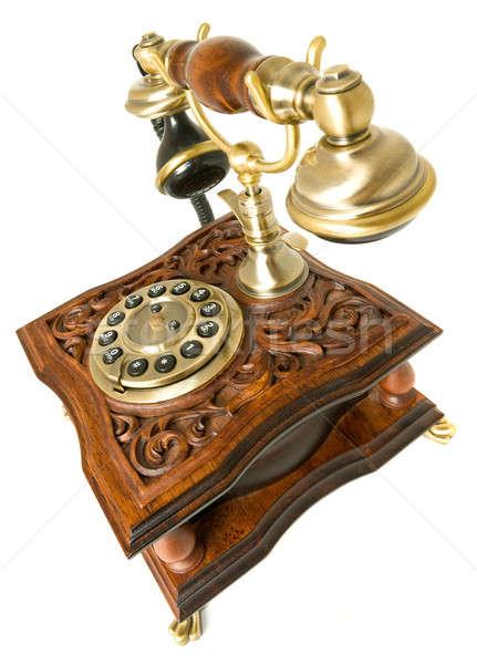 Communication Old-fashioned telephone isolated Stock photo © Arsgera