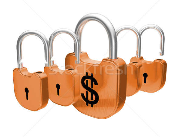 Padlocks - US dollar currency safety concept Stock photo © Arsgera