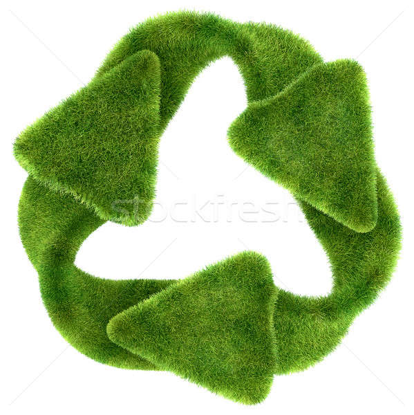 Ecological sustainability: green grass recycling symbol Stock photo © Arsgera
