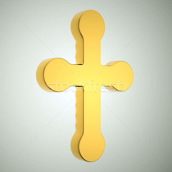 Jewelery and religion: golden cross. Custom made and rendered Stock photo © Arsgera