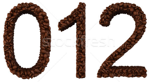 Coffee font 0 1 2 numerals isolated Stock photo © Arsgera