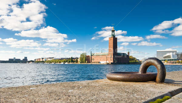 Stockholm quayside and city hall Stock photo © Arsgera