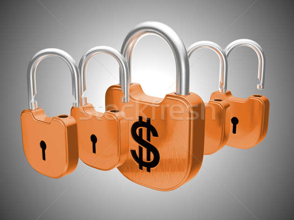 Dólar moeda segurança cinza chave trancar Foto stock © Arsgera