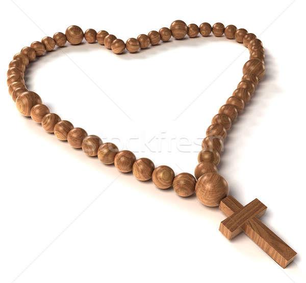 ロザリオ ビーズ 心臓の形態 白 木材 クロス ストックフォト © Arsgera