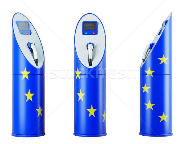 Eco paliwa odizolowany eu banderą wzór Zdjęcia stock © Arsgera