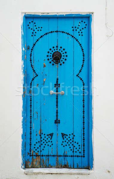 Velho azul porta Tunísia grande Foto stock © Arsgera