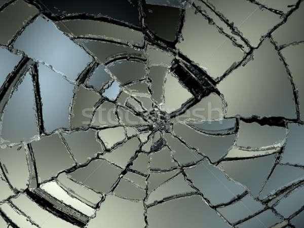 Destructed glass sharp pieces on black Stock photo © Arsgera