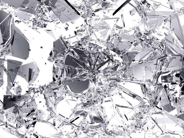 Pieces of destructed Shattered glass on white Stock photo © Arsgera