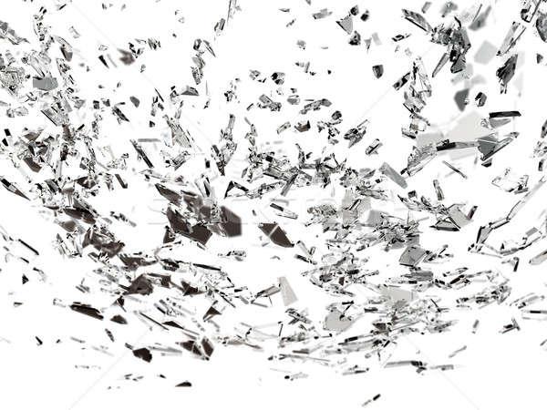 Darabok törött repedt üveg fehér nagy Stock fotó © Arsgera