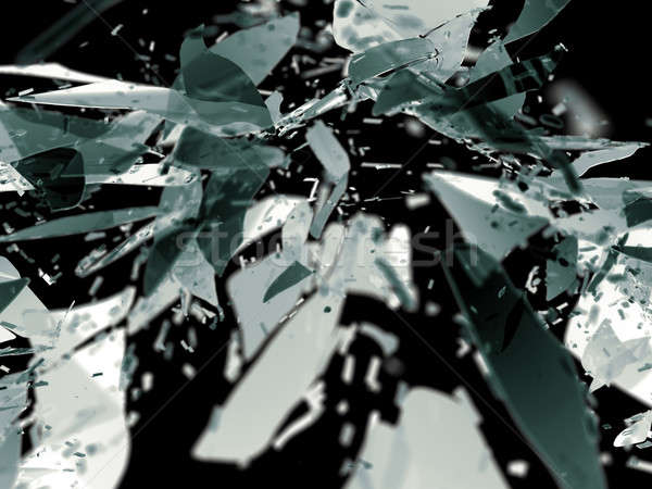 Destructed glass pieces isolated on black shallow DOF Stock photo © Arsgera