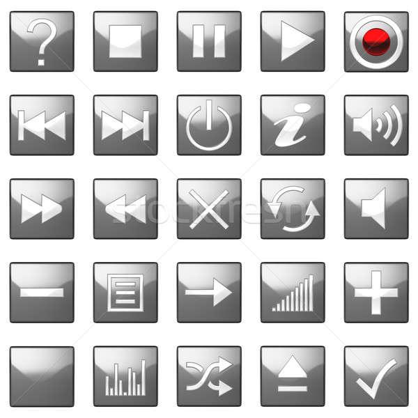 Square grey Control panel icons set  Stock photo © Arsgera