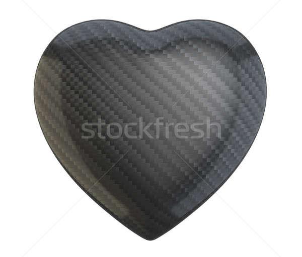 Carbon fiber heart shape isolated  Stock photo © Arsgera
