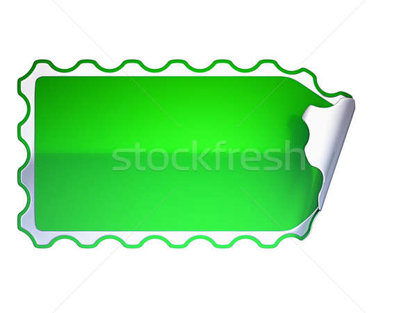 Green jagged label or sticker on white Stock photo © Arsgera