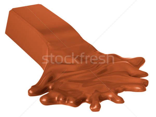 Molten chocolate bar isolated on white Stock photo © Arsgera