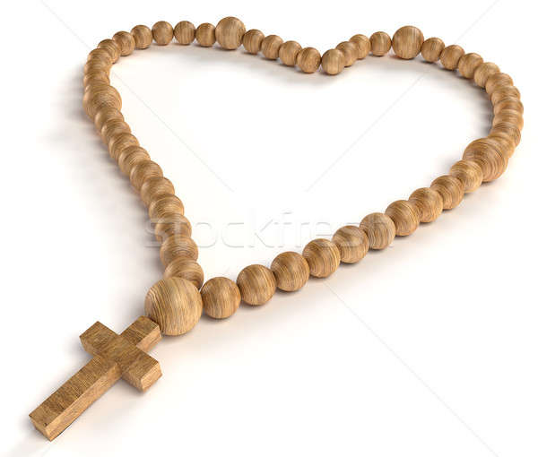 religious life and love: wooden chaplet or rosary beads Stock photo © Arsgera