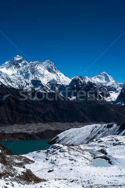 Everest, Nuptse, Lhotse and Makalu peaks. Gokyo lake and village Stock photo © Arsgera