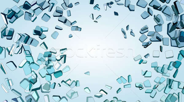 Shattered or smashed pieces of blue glass Stock photo © Arsgera